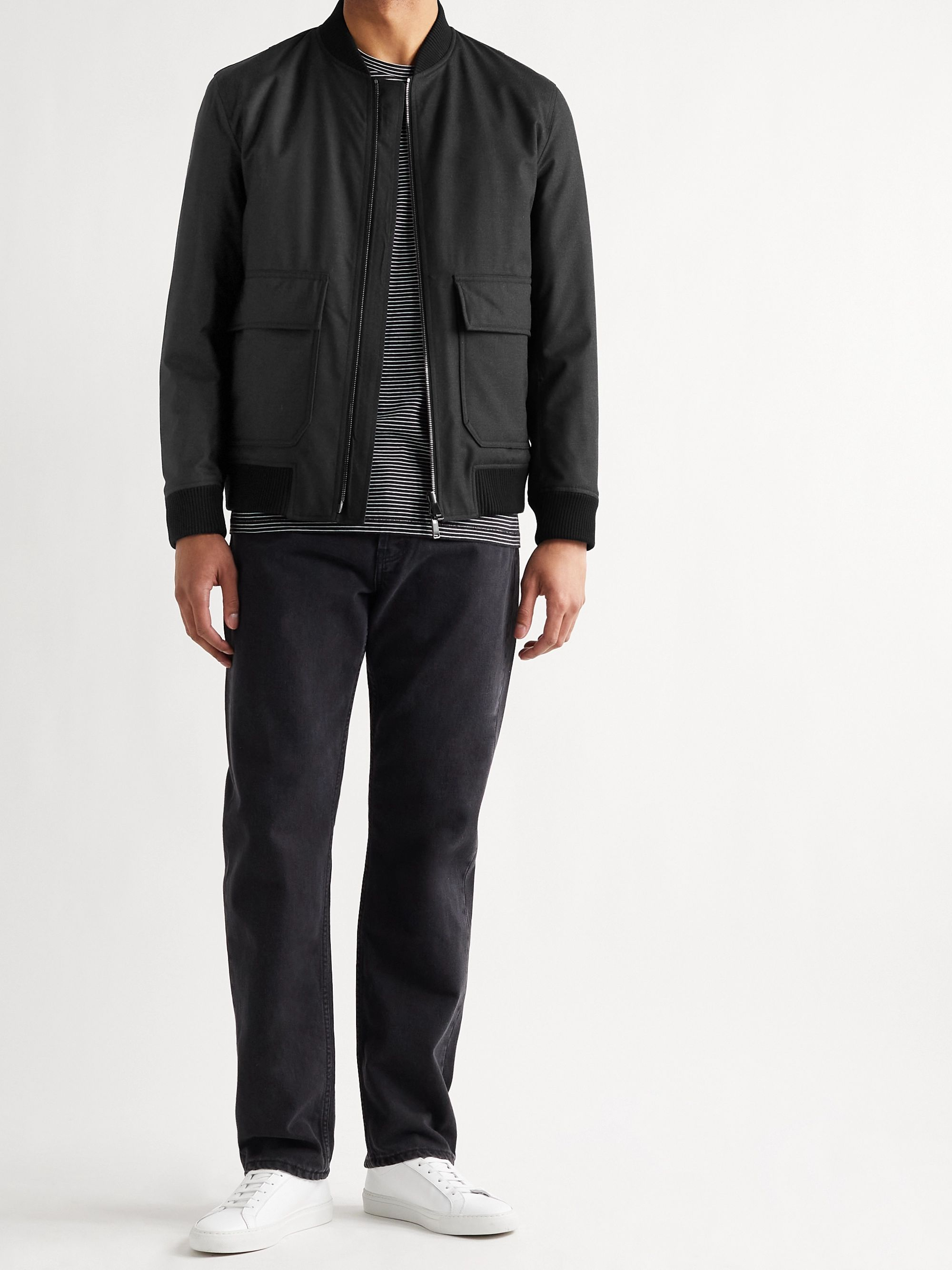 THEORY Brigade Reversible Mélange Wool-Blend Twill and Quilted Shell Bomber Jacket