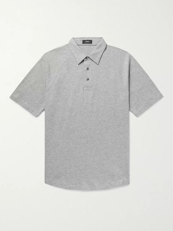THEORY Slim-Fit Mélange Cotton-Jersey Polo Shirt