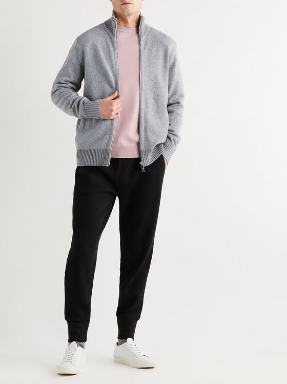 THEORY Jarkko Crimden Mélange Wool-Blend Zip-Up Sweater