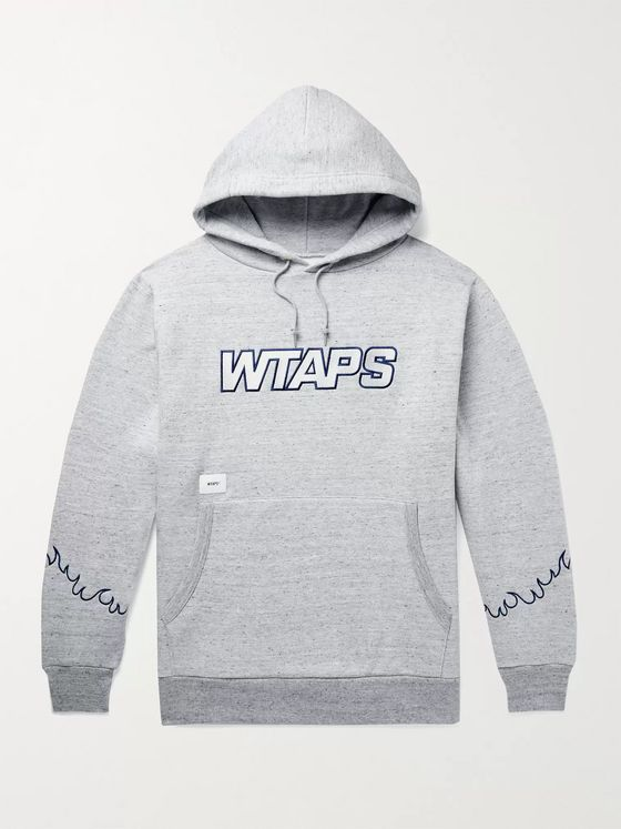WTAPS Drifters Embroidered Mélange Fleece-Back Cotton-Blend Jersey Hoodie
