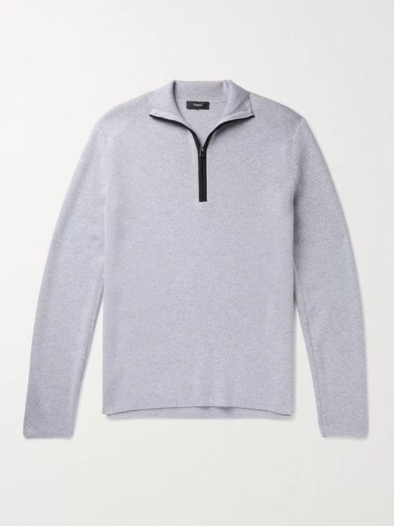 Theory Taner Mélange Wool and Cotton-Blend Half-Zip Sweater