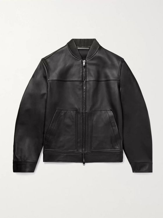 THEORY Fletcher Leather Bomber Jacket