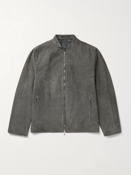THEORY Moore Grand Suede Bomber Jacket