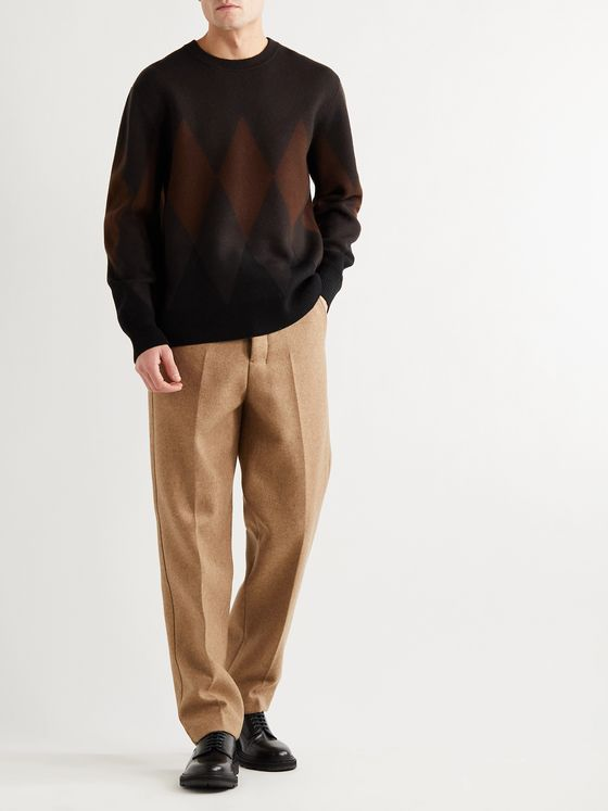 THEORY Jun Champion Intarsia Merino Wool-Blend Sweater