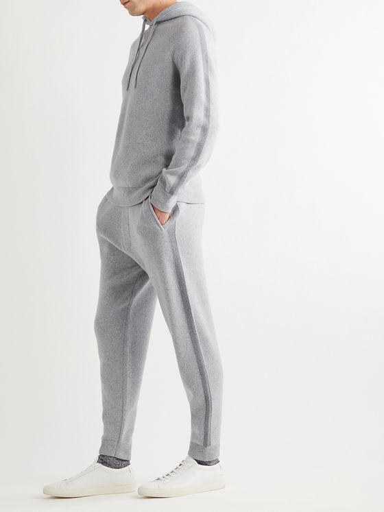 THEORY Crimden Tapered Striped Mélange Wool and Cashmere-Blend Sweatpants