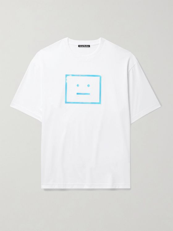 ACNE STUDIOS Exford Oversized Iridescent Logo-Print Cotton-Jersey T-Shirt