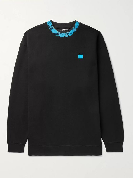 ACNE STUDIOS Future Oversized Logo-Appliquéd Fleece-Back Jersey Sweatshirt