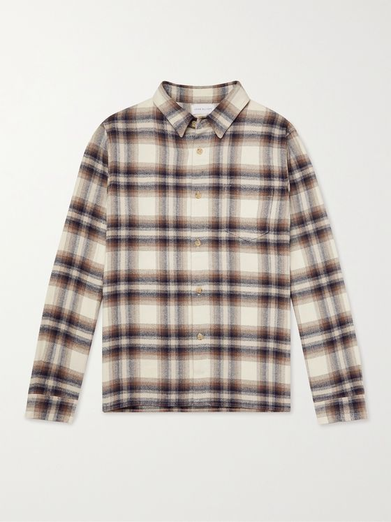 JOHN ELLIOTT Checked Herringbone Cotton-Flannel Shirt