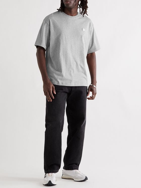 ACNE STUDIOS Exford Oversized Logo-Appliquéd Mélange Cotton-Jersey T-Shirt