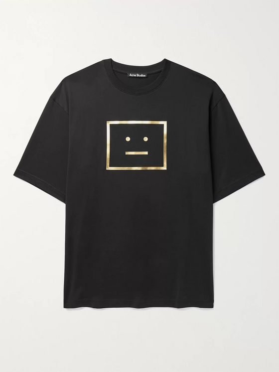 ACNE STUDIOS Exford Oversized Metallic Logo-Print Cotton-Jersey T-Shirt