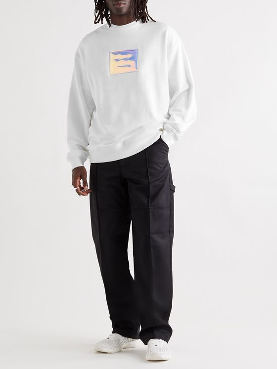 ACNE STUDIOS Forba Oversized Iridescent Logo-Detailed Loopback Cotton-Jersey Sweatshirt