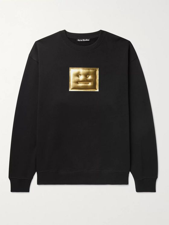 ACNE STUDIOS Forba Oversized Metallic Logo-Detailed Loopback Cotton-Jersey Sweatshirt