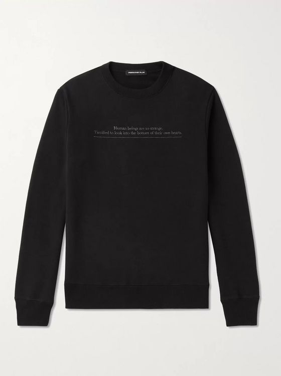 Undercover Embroidered Loopback Cotton-Jersey Sweatshirt