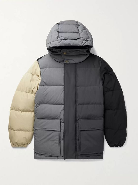 Aimé Leon Dore + Woolrich Quilted Colour-Block Ripstop, Shell and Faille Hooded Down Jacket