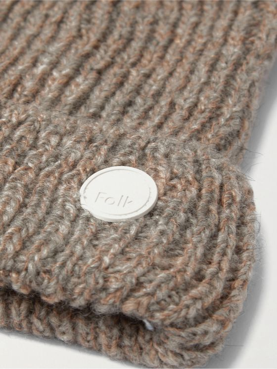 FOLK Ripple Logo-Appliquéd Ribbed Mélange Wool-Blend Beanie