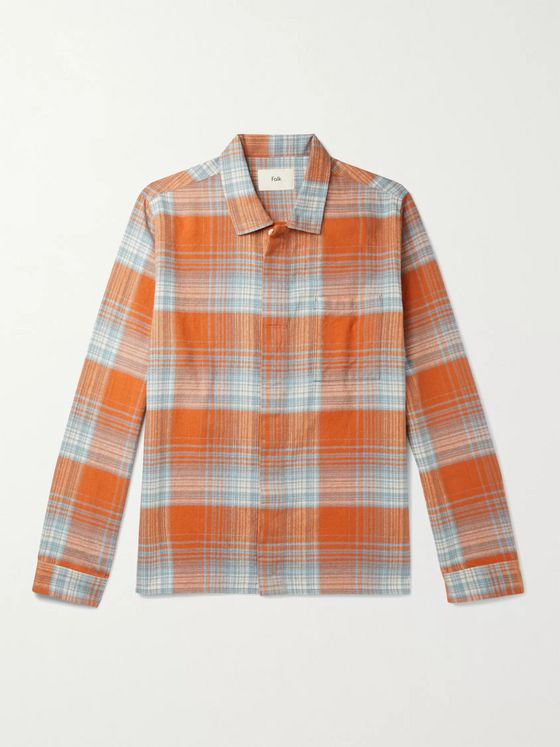 FOLK Patch Checked Brushed Cotton-Flannel Shirt