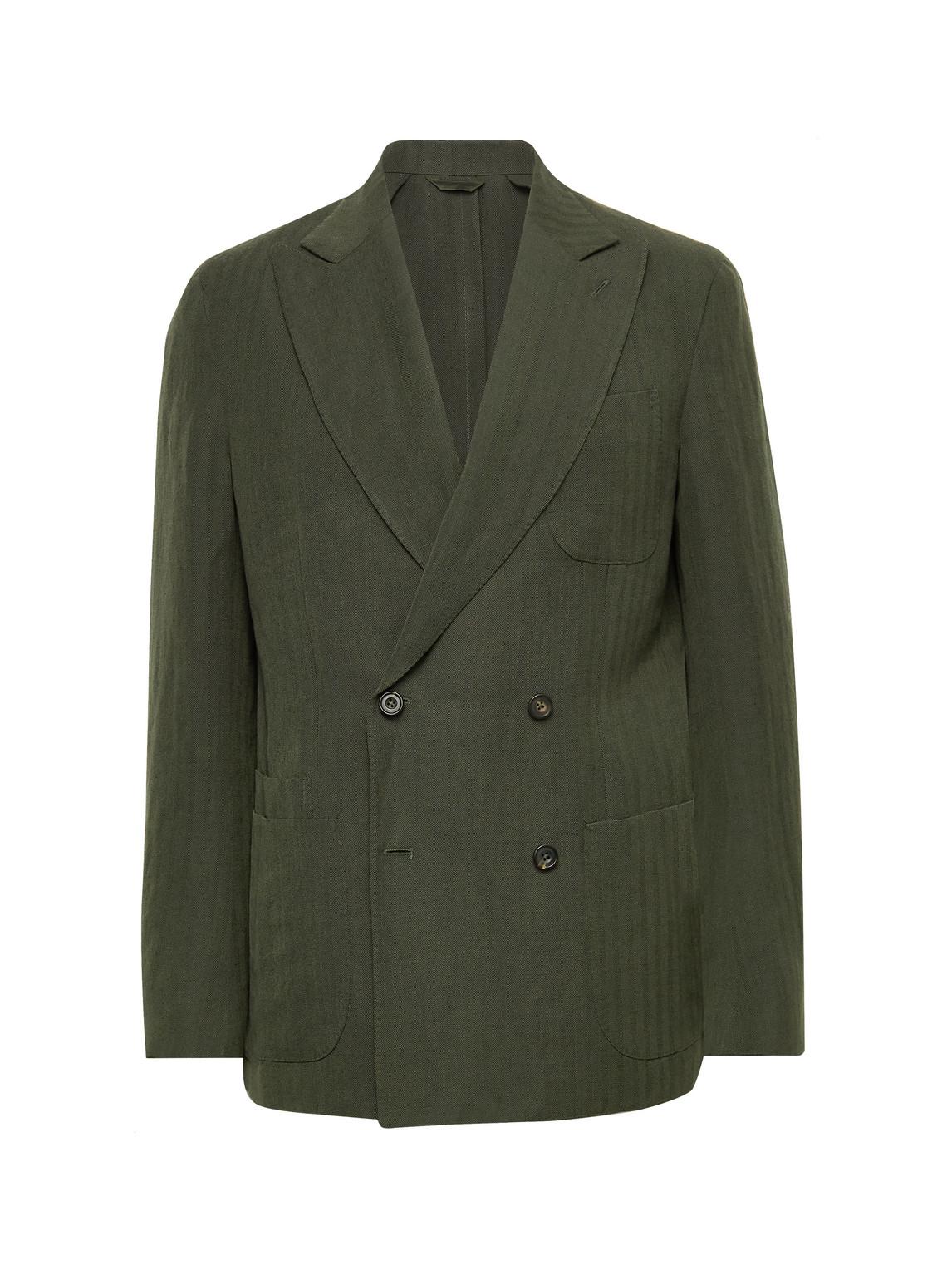 aimé leon dore - drake's double-breasted herringbone wool and linen-blend suit jacket - men - green - uk/us 50