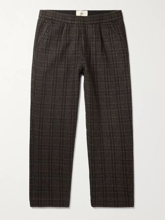 FOLK Alber Checked Wool-Blend Trousers