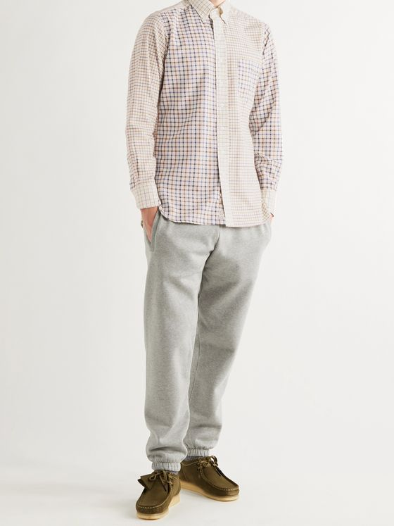 Aimé Leon Dore + Drake's Button-Down Collar Checked Cotton and Wool-Blend Shirt