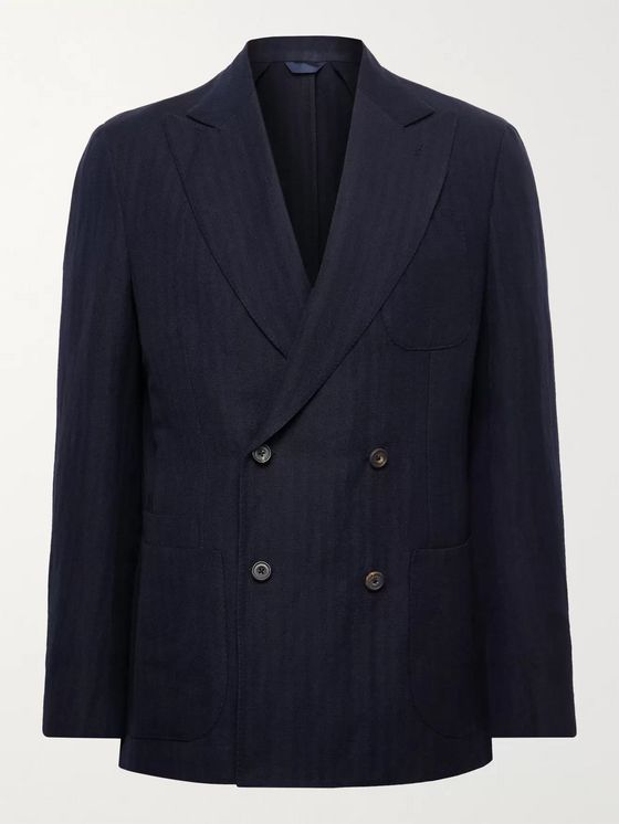 Aimé Leon Dore + Drake's Double-Breasted Herringbone Wool and Linen-Blend Suit Jacket