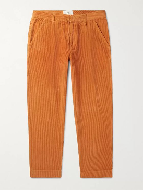 FOLK Signal Tapered Cropped Pleated Cotton-Corduroy Trousers