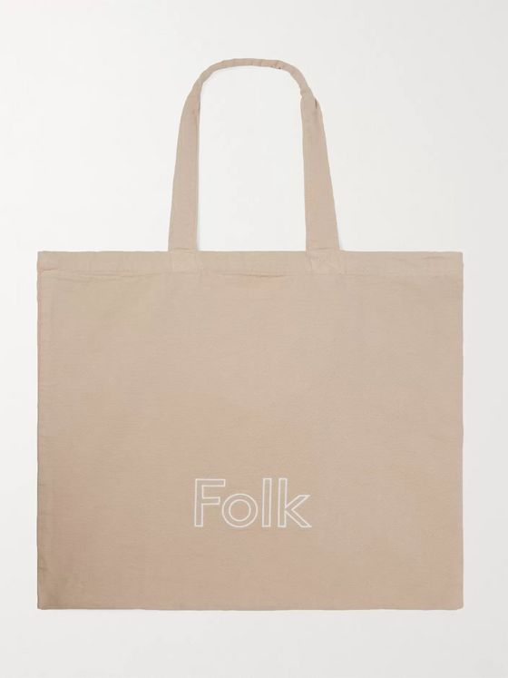 FOLK Puzzle Logo-Embroidered Cotton-Canvas Tote Bag