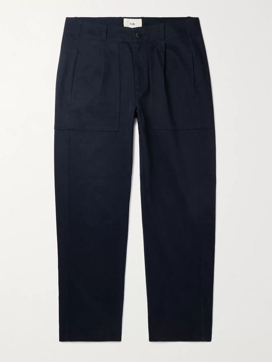 FOLK Raft Pleated Cotton Trousers