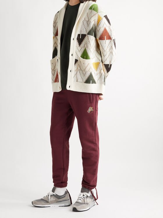 Aimé Leon Dore + Drake's Tapered Logo-Embroidered Loopback Cotton-Jersey Sweatpants
