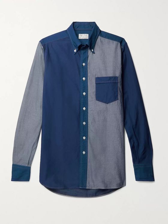 Aimé Leon Dore + Drake's Button-Down Collar Panelled Denim Shirt