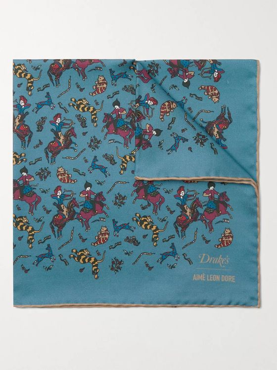 Aimé Leon Dore + Drake's Printed Silk-Twill Pocket Square