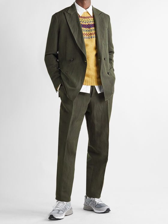 Aimé Leon Dore + Drake's Slim-Fit Pleated Herringbone Wool and Linen-Blend Suit Trousers