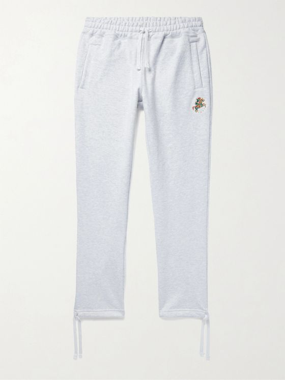 Aimé Leon Dore + Drake's Tapered Logo-Embroidered Mélange Loopback Cotton-Jersey Sweatpants