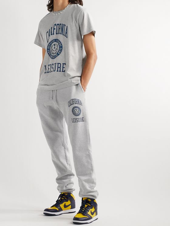 Pasadena Leisure Club California Leisure Tapered Printed Mélange Fleece-Back Cotton-Jersey Sweatpants