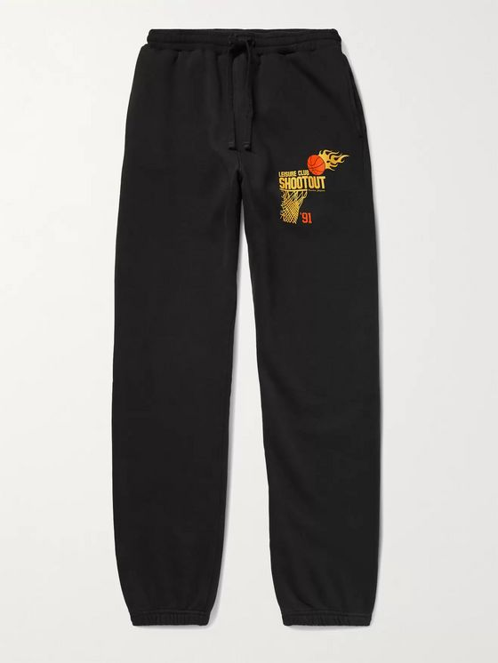 Pasadena Leisure Club Shootout Tapered Printed Fleece-Back Cotton-Jersey Sweatpants