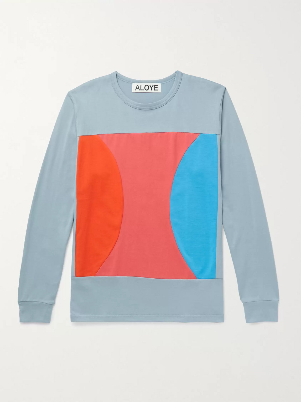 Aloye Colour-block Cotton-jersey T-shirt In Gray