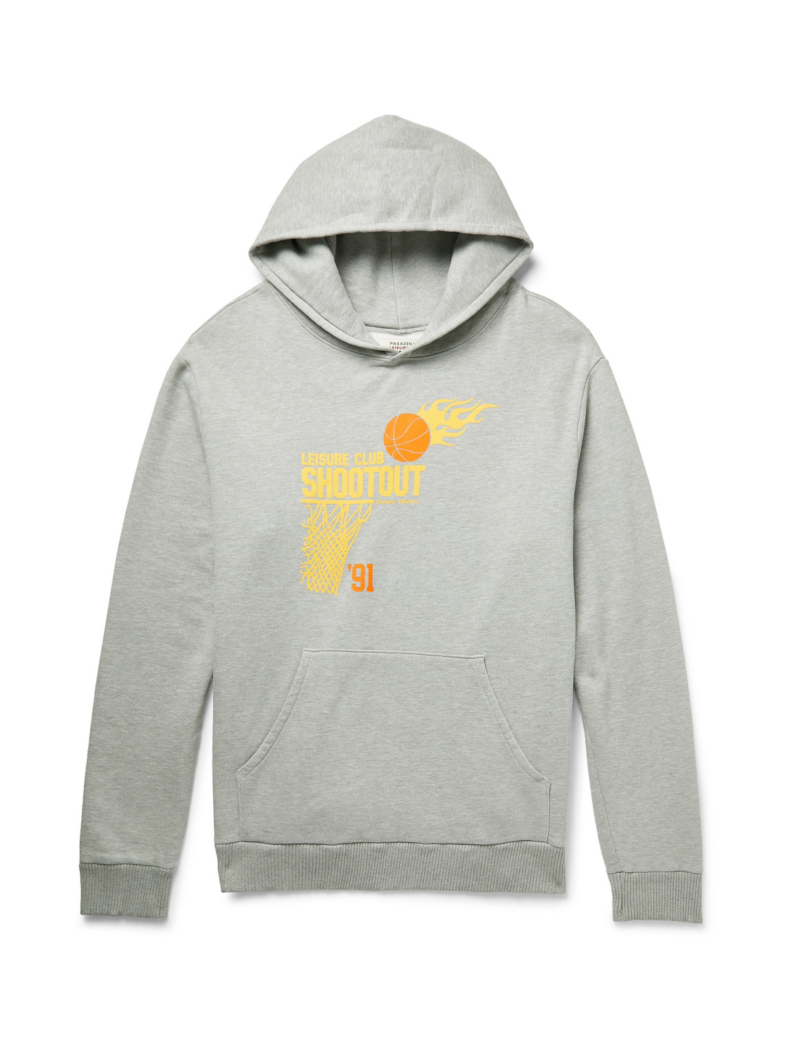pasadena leisure club - shootout printed mélange fleece-back cotton-jersey hoodie - men - gray - xs