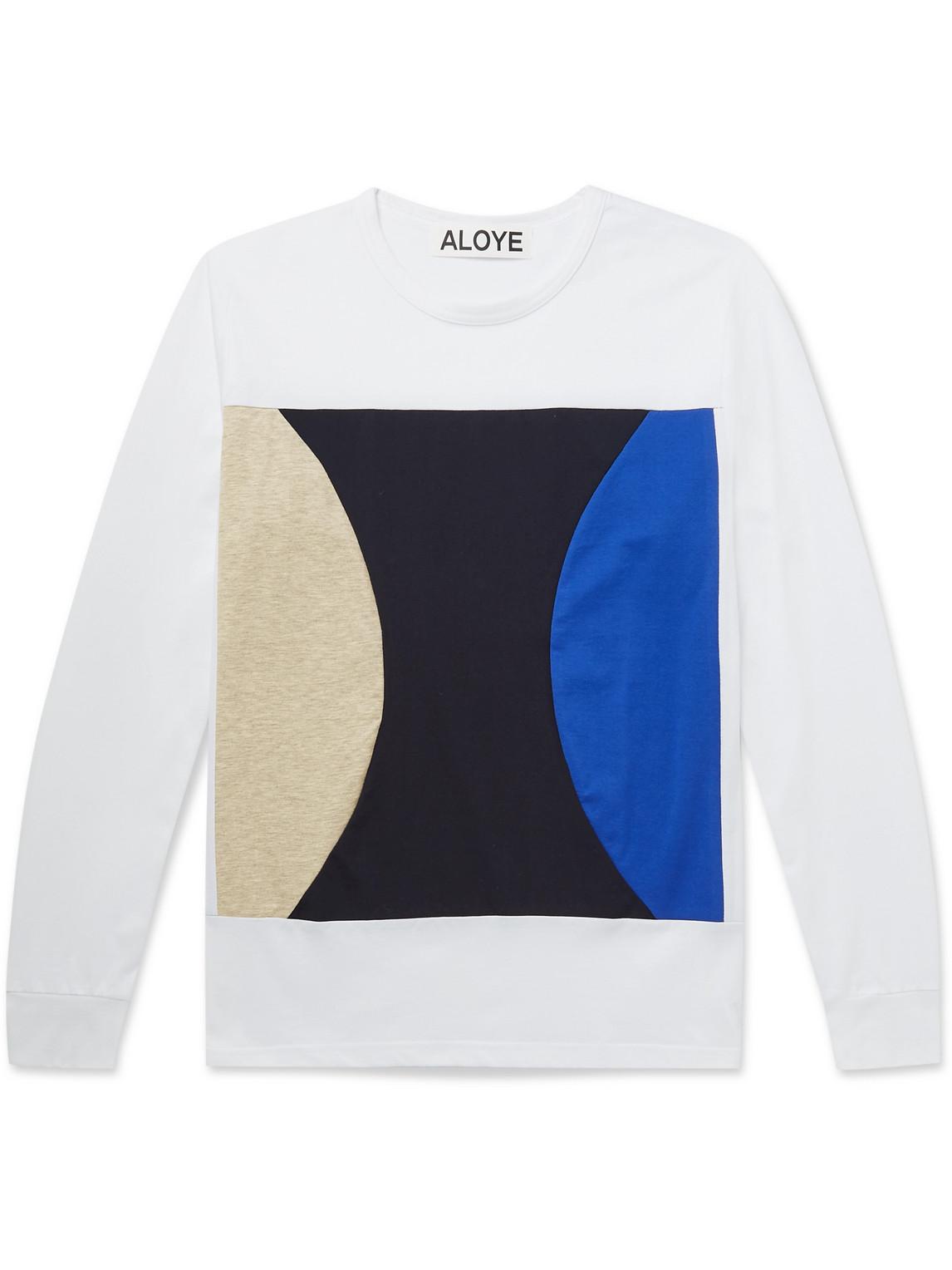 aloye - colour-block cotton-jersey t-shirt - men - white - s