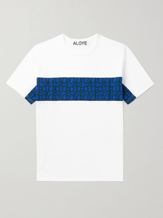 Aloye Jacquard-Panelled Cotton-Jersey T-Shirt