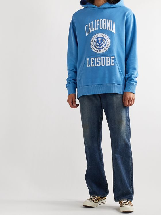 Pasadena Leisure Club Printed Pigment-Dyed Enzyme-Washed Cotton-Jersey Hoodie
