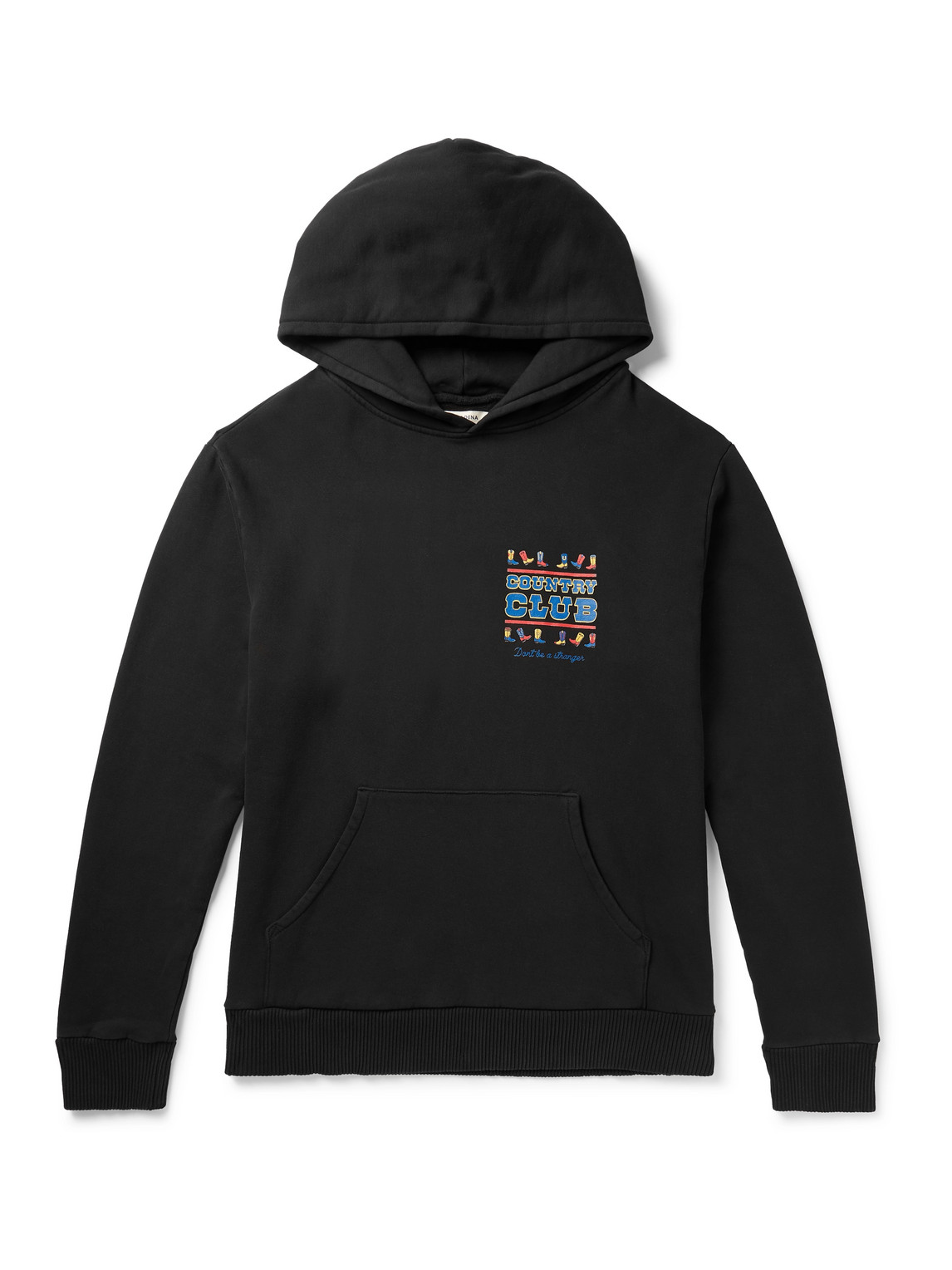 pasadena leisure club - country club enzyme-washed printed fleece-back cotton-jersey hoodie - men - black - s