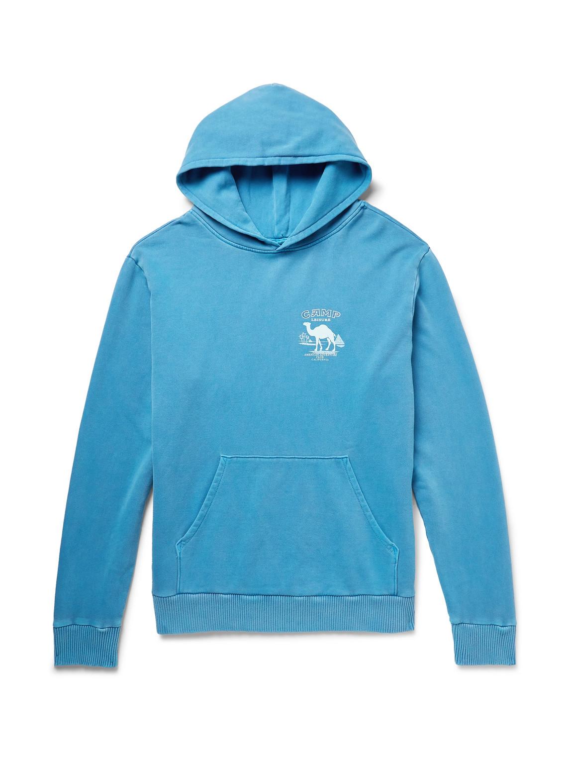 pasadena leisure club - printed pigment-dyed fleece-back cotton-jersey hoodie - men - blue - xs