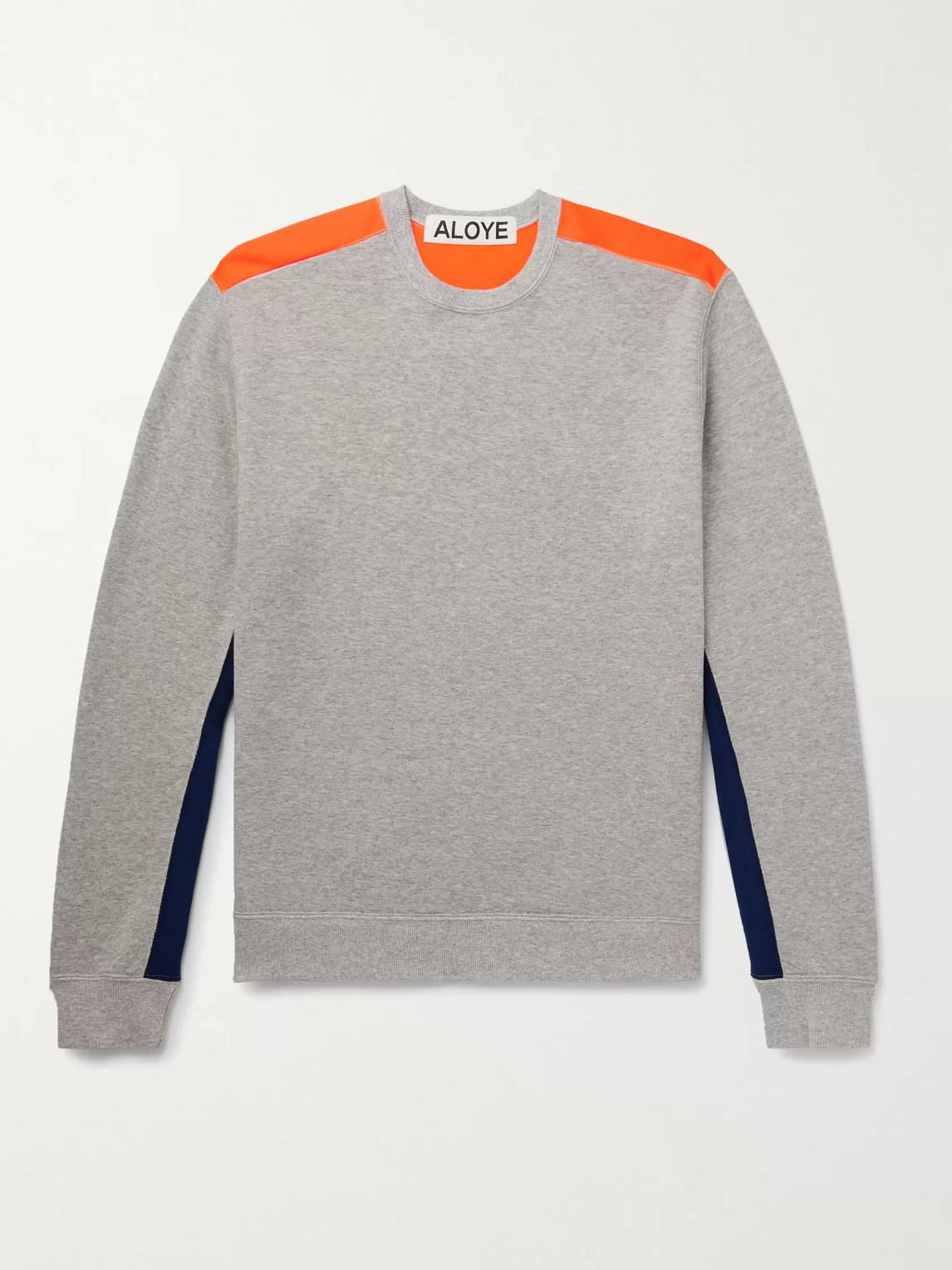 Aloye Colour-block Mélange Loopback Cotton-jersey Sweatshirt In Gray