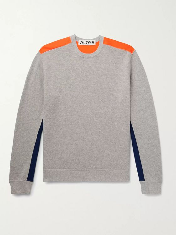 ALOYE Colour-Block Mélange Loopback Cotton-Jersey Sweatshirt