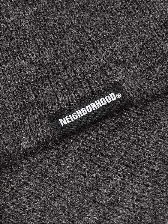 NEIGHBORHOOD Logo-Appliquéd Mélange Knitted Balaclava