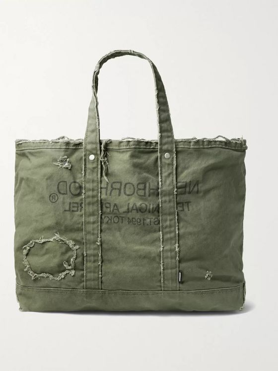 NEIGHBORHOOD Damage Logo-Print Distressed Cotton-Canvas Tote