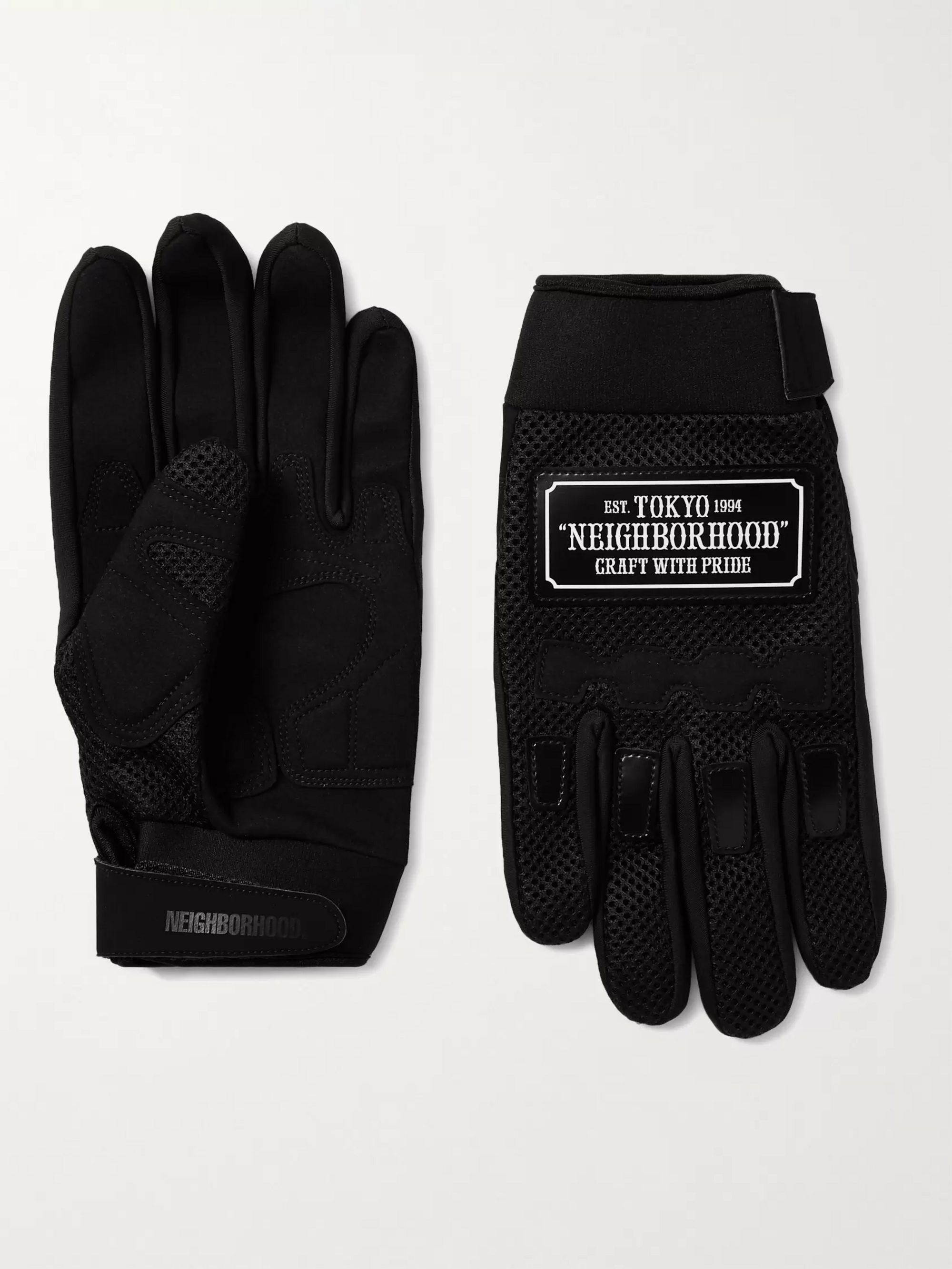 NEIGHBORHOOD Motocross Neoprene-Trimmed Mesh and Faux-Suede Gloves