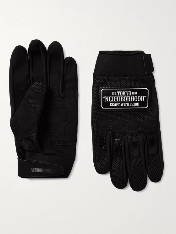 Neighborhood Neoprene-Trimmed Mesh and Faux-Suede Gloves