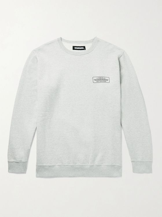 NEIGHBORHOOD Logo-Print Mélange Loopback Cotton-Jersey Sweatshirt