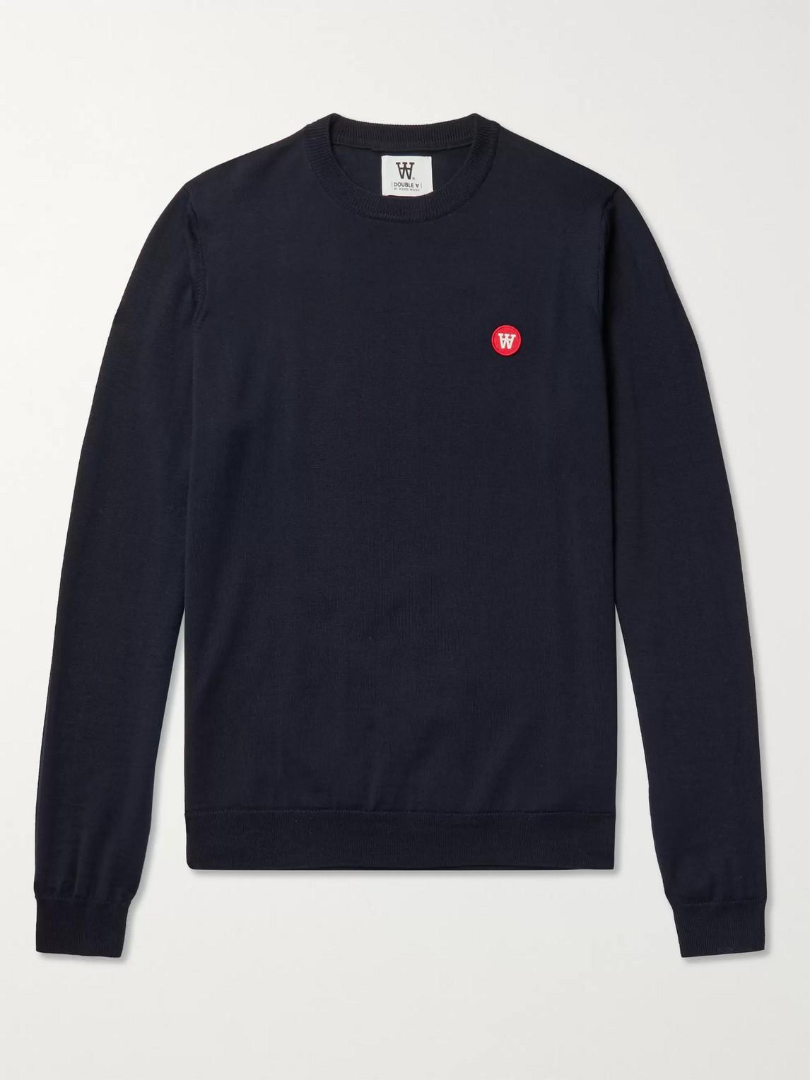 Wood Wood Kip Logo-appliquéd Merino Wool Sweater In Blue