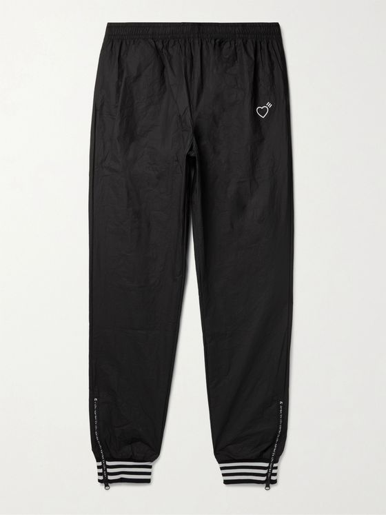 adidas Consortium + Human Made Tapered Logo-Print Striped Crinkled-Shell Track Pants